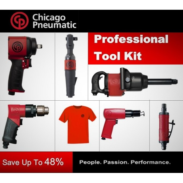 """CP Professional Tool Kit - 1"""" Impact, 1/2"""" Impact, Ratchet, Drill, Hammer, Grinder, T-shirt - Chicago Pneumatic"""