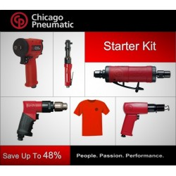 CP Starter Tool Kit - Impact Wrench, Ratchet, Drill, Grinder, Hammer & T-shirt - Chicago Pneumatic