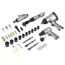 """Sealey SA2004 KIT - 1/2"""" Impact Wrench, 1/2"""" Ratchet, Hammer and Die Grinder"""