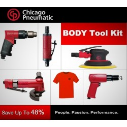CP Body Work Kit - Grinder, Angle Grinder, Hammer, Drill, Sander & T-Shirt - Chicago Pneumatic